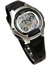 NEW CASIO Ladies Boys LW-200-1A Digital Black Silver Resin Strap Watch LW-200