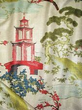 4 DRAPES GORGEOUS REGAL TOILE in Oriental Pagoda Cherry Blossom Bonsai Linen