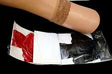 Lace Top Thigh High Stay-ups Silicone Support Stockings One Size Made USA Small