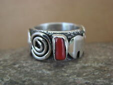Native American Jewelry Sterling Silver Coral Ring by Alex Sanchez Size 7 1/2
