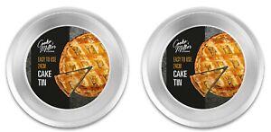 "2 x ROUND NON STICK CAKE TIN 9.5"" Pastry Oven Dish Pizza Pie Baking Pan Quiche"