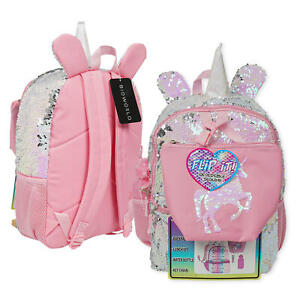 "New 4 Piece Unicorn Sequins Backpack Set- 16"""
