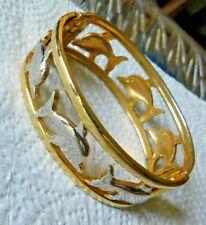 Silver & Gold Tn Porpoise / Dolphin Bracelet Pull Apart Hinge Open Work Figural