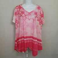 Est 1946 Shirt Womens XL Pink Paisley V Neck Shark Hem Short Sleeve Top Blouse