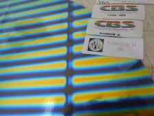"Dichroic Glass:CBS 96 COE Stripes Pattern Cyan/Red on Flat Thin Black - 3""Sq"