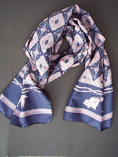 """Women's Scarf Blue Purple White Tapestry Print Light Weight Polyester 52"""" x 12"""""""