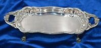 """Vintage FB Rogers Silver Plate #7733 Four Footed Handled Ornate Tray XX3- 6 15"""""""