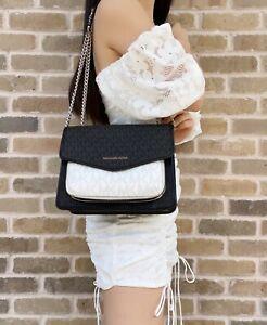 Michael Kors Regina Medium Fall Shoulder Bag Black Bright White MK Crossbody
