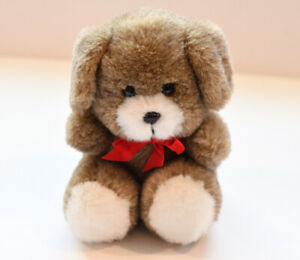 """Vintage Berber Products Brown Plush Dog Red Bow 6"""""""