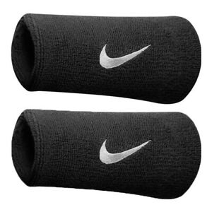 Nike Doublewide Swoosh Wristbands Black/White SweatBands Gym Running Tennis
