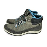 ECCO Womens Aspina GTX High Hiking Boots Gray Blue Yak Leather Lace Up Size 10.5