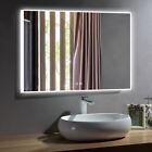 Dimmable LED Bathroom Mirror Antifog Wall Vanity Illuminated Bluetooth Backlit