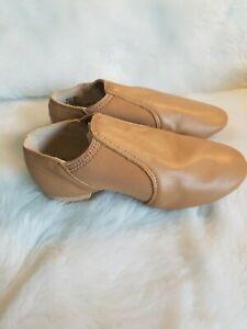 Balera Slip on Leather Jazz Shoes Caramel Tan Childs Medium Dance Class  D