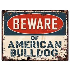 PP2256 Beware of AMERICAN BULLDOG Plate Chic Sign Home Store Wall Decor Gift