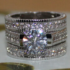 Brand Women's Round White Sapphire 925 Sterling Silver 3-in-1 Wedding Ring Set