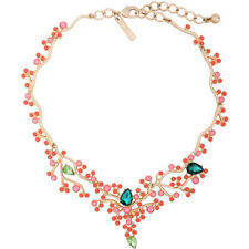 Halskette kurz golden art deco Bügel Baum Koralle mini Perle Lachs Orange OSC5