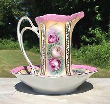 Pink & Gold Trim Vintage Floral Porcelain Pitcher & Wash Basin Set