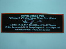 Barry Bonds Autograph Nameplate San Francisco Giants Autograph Jersey Ball Photo