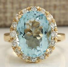 5.35 Carat Natural Aquamarine 14K Yellow Gold Diamond Ring