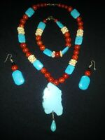 HANDMADE TURQUOISE CORAL BONE  NECKLACE  BRACELET EARRINGS