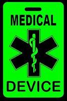 Hi-Viz Green Medical Device Carry-On Bag Tag - CPAP BiPAP APNEA POC