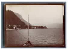 Italie, Lago di Como, Vista di Varenna Vintage citrate print.  Tirage citrate