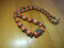 Antique Victorian Natural Red Coral Beads Silver Necklace