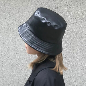 bucket Hat Faux Leather Bucket Hats PU Cotton Solid Top Men's And Women's Fashio