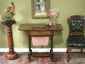 ANTIQUE WILLIAM IV SEWING / WORK TABLE / SIDE TABLE / BEDSIDE CABINET ~ c1830s