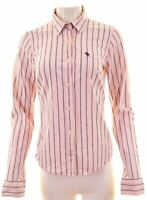 ABERCROMBIE & FITCH Womens Shirt Size 16 Large Pink Striped Cotton Stretch MD03