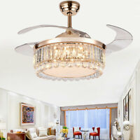 """42"""" Modern Crystal Ceiling Fan Light Invisible LED Chandelier Dimmable W/ Remote"""