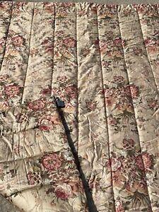 RALPH LAUREN Full Queen Sateen COMFORTER Guinevere Aragon Medieval FLORAL Tan