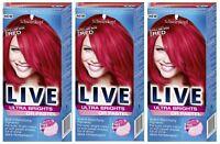 Schwarzkopf Ultra Brights 092 Pillar Box Red Semi-Permanent Hair Colour Dye x 3