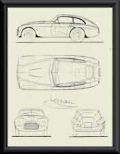 Enzo Ferrari Autograph Reprint Diagram of Ferrari 166 On Fine Linen Paper P070