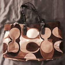 NWT COACH Optic C Tote Shopper SUEDE/ Leather Purse Bag Brown Gold Beige Large