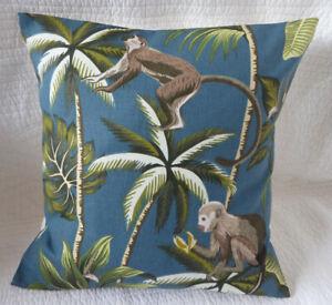 "Monkey Cushion Cover 16"" inch Teal Blue Jungle Tropical Print Handmade New 40cm"