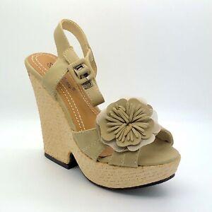 Ladies Beige Wedge Sandals Shoes Size 3 UK EU 36 Women Summer Holiday Flower
