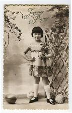c1930 Child Children CUTE GIRL Louise Brooks type Helmet Haircut French photo pc