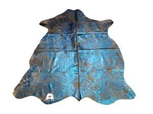 Blue Acid Washed COWHIDE RUG – Size: 7'x 6' Ft – Premium Cow Hide Rug