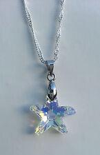 Kristall Schmuck Kette Silber mit Swarovski Elements Seestern Stern Crystal AB