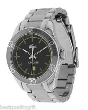 NEW LACOSTE SILVER TONE S/STEEL BAND+BLACK DIAL w/DATE MENS WATCH+BOX 2010506