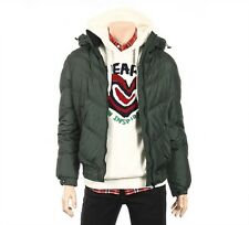 NII Mens Detachable Hood High Neck Puffer Zip Up Jacket Dark Green Size M NWT.