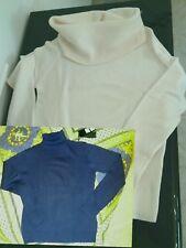 Lotto 2 pullover maglie invernali tg S/M donna collo alto a ciambella bianca blu