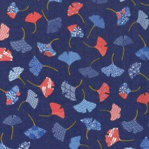 Textiles français GINKGO LEAVES fabric 100% Cotton 160 cm wide - per half metre