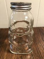 "Vintage Hazel Atlas Clear Glass Piggy Bank ""Brother Can You Spare a Dime?"" 1930s"