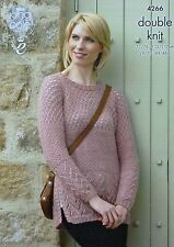 KNITTING PATTERN Ladies Long Sleeve Round Neck Textured Jumper DK King Cole 4266