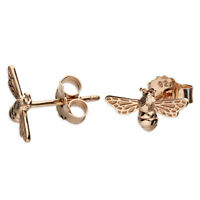 925 Sterling Silver Rose Gold Bee Stud Earrings