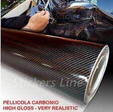 Pellicola adesiva CARBONIO NERO lucido 5D cm 25x150 car wrapping auto moto