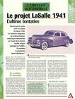 Projet LaSalle 1941 General Motor Cadillac USA Car Auto FICHE FRANCE