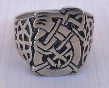 Vintage Sterling Silver LARGE Celtic Vine Norse Viking Signet Biker Ring